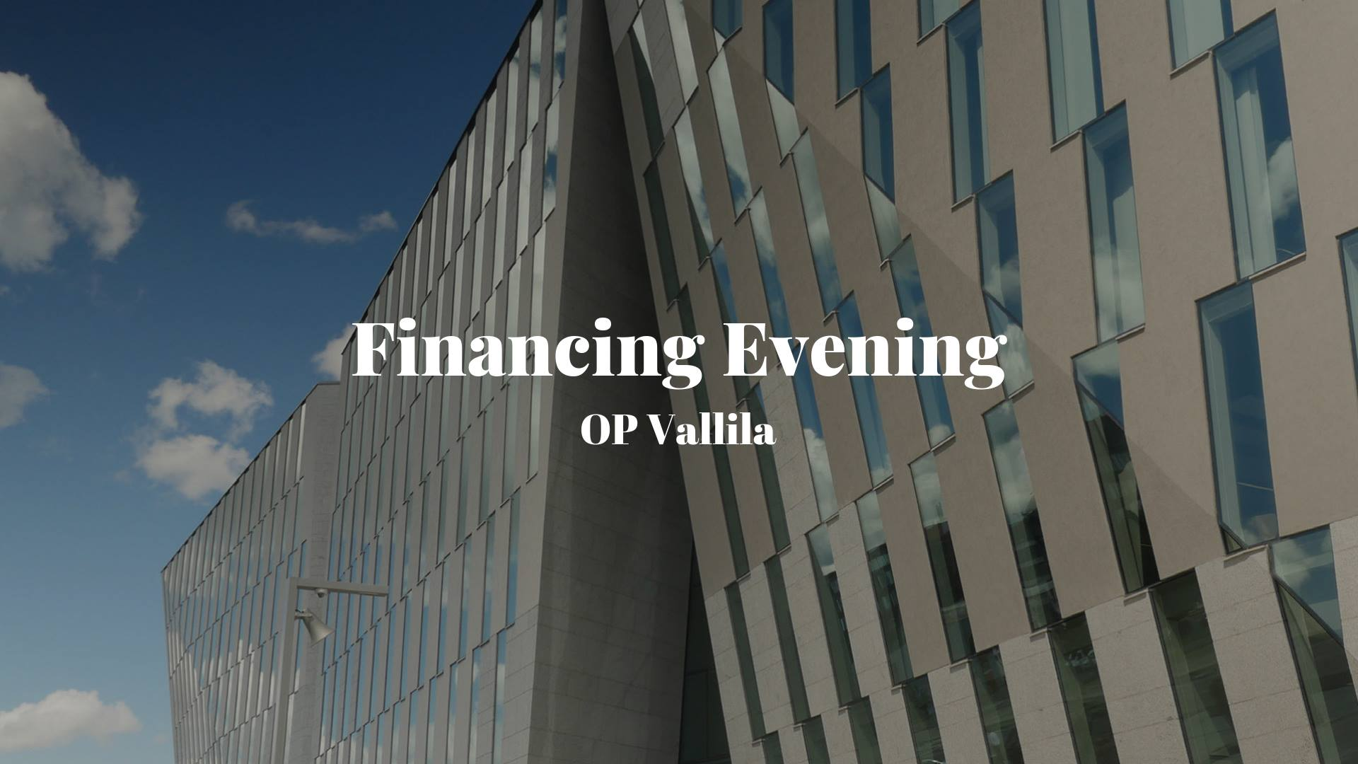 OP X LaureaES – Financing Evening